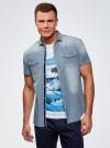 Рубашка джинсовая приталенная oodji #SECTION_NAME# (синий), 6L510000M/35771/7500W - вид 2