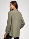 Блузка базовая из вискозы с нагрудными карманами oodji для женщины (зеленый), 11411127B/42540/6600N