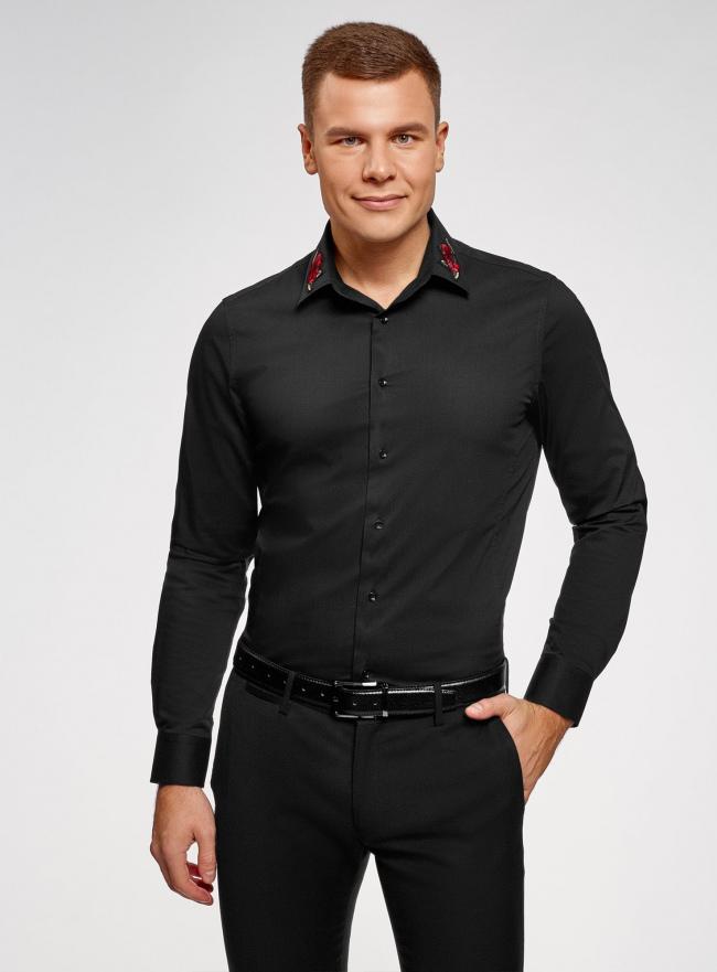 Рубашка приталенная с нашивкой на воротнике oodji #SECTION_NAME# (черный), 3L140117M/34146N/2900N