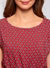 Блузка принтованная из вискозы oodji #SECTION_NAME# (красный), 11400345-2/24681/4912G - вид 4