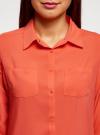 Блузка с нагрудными карманами и регулировкой длины рукава oodji #SECTION_NAME# (оранжевый), 11400355-9B/42807/5500N - вид 4