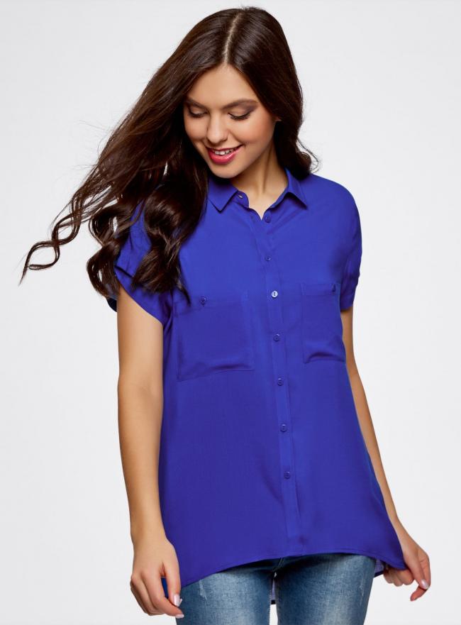 Блузка с короткими рукавами и карманами на пуговицах oodji #SECTION_NAME# (синий), 11400391-2B/24681/7500N