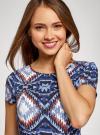 Платье принтованное из вискозы oodji для женщины (синий), 11900191/26346/7970E - вид 4