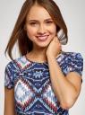 Платье принтованное из вискозы oodji #SECTION_NAME# (синий), 11900191/26346/7970E - вид 4
