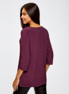 Блузка прямого силуэта с украшением oodji #SECTION_NAME# (фиолетовый), 21404021/43281/8800N - вид 3