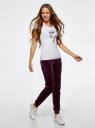 Брюки спортивные на завязках oodji для женщины (фиолетовый), 16701051B/47883/8803N