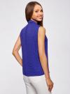 Топ из струящейся ткани с воланами oodji для женщины (синий), 21411108/36215/7512D - вид 3