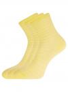 Комплект хлопковых носков в полоску (3 пары) oodji #SECTION_NAME# (желтый), 57102813T3/48022/4 - вид 2