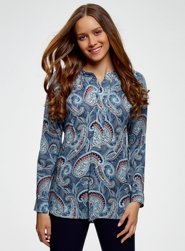 Блузка удлиненная с этническим орнаментом oodji #SECTION_NAME# (бирюзовый), 21405135/45192/7370E
