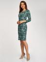 Платье трикотажное с вырезом-капелькой на спине oodji #SECTION_NAME# (зеленый), 24001070-5/15640/6910F - вид 6