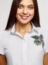 Рубашка хлопковая с вышивкой oodji #SECTION_NAME# (белый), 13K01004-6/14885/1019P - вид 4