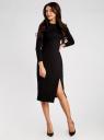 Платье-миди трикотажное с запахом на юбке oodji для женщины (черный), 24000305/45394/2900N