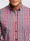 Рубашка приталенного силуэта в клетку oodji #SECTION_NAME# (красный), 3L110214M/39767N/4510C - вид 4