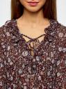 Блузка принтованная с воланами и стразами oodji #SECTION_NAME# (красный), 11411110/10466/4919F - вид 4
