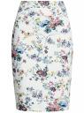 Юбка-карандаш из фактурной ткани oodji #SECTION_NAME# (белый), 14101088-1/42588/1019F