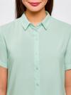 Блузка вискозная с короткими рукавами oodji #SECTION_NAME# (зеленый), 11411137B/14897/6501N - вид 4
