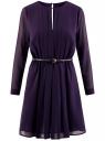 Платье из струящейся ткани с ремнем oodji для женщины (фиолетовый), 21913017/17358/8800N