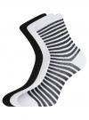 Комплект хлопковых носков в полоску (3 пары) oodji #SECTION_NAME# (разноцветный), 57102813T3/48022/19 - вид 2