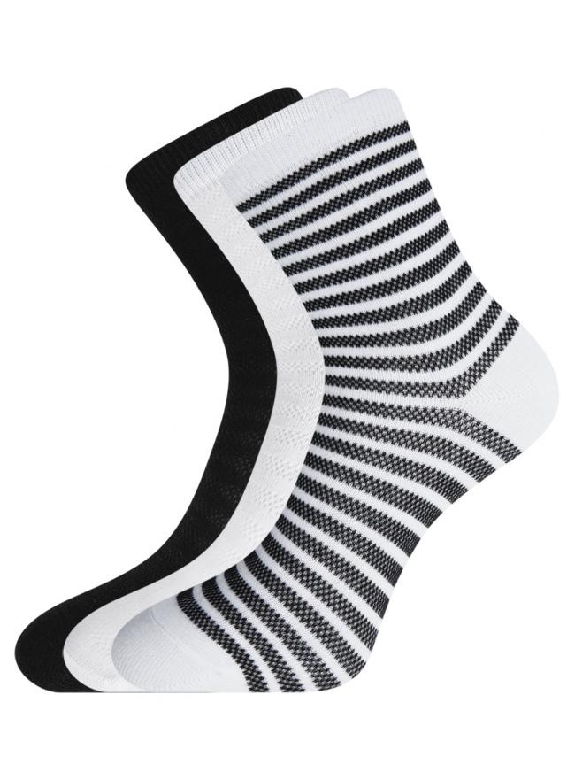 Комплект хлопковых носков в полоску (3 пары) oodji #SECTION_NAME# (разноцветный), 57102813T3/48022/19