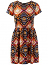 Платье принтованное из вискозы oodji #SECTION_NAME# (разноцветный), 11900191/26346/2959E
