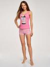 Пижама с шортами и принтом oodji #SECTION_NAME# (розовый), 56002152-21/46158/4D41P - вид 6