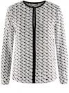 Блузка из струящейся ткани с контрастной отделкой oodji #SECTION_NAME# (белый), 11411059B/43414/1229G