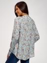 Блузка вискозная А-образного силуэта oodji #SECTION_NAME# (синий), 21411113-1B/48458/6543F - вид 3