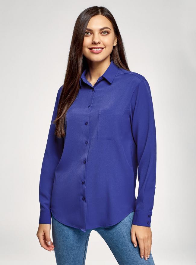 Блузка прямого силуэта с нагрудным карманом oodji для женщины (синий), 11411134B/48853/7503N