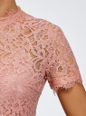 Блузка ажурная с коротким рукавом oodji #SECTION_NAME# (розовый), 11401277/48132/4B00L - вид 5