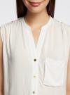 Блузка без рукавов с металлическими кнопками oodji #SECTION_NAME# (белый), 21412131/35251/1200N - вид 4
