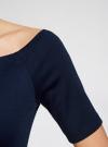 Платье трикотажное с вырезом-лодочкой oodji #SECTION_NAME# (синий), 14007026-1/37809/7900N - вид 5