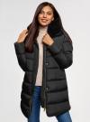 Куртка удлиненная с искусственным мехом на воротнике oodji для женщины (черный), 10203059-1/32754/2901N - вид 2