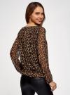 Блузка принтованная свободного силуэта oodji для женщины (коричневый), 21400393/35202/3729A - вид 3