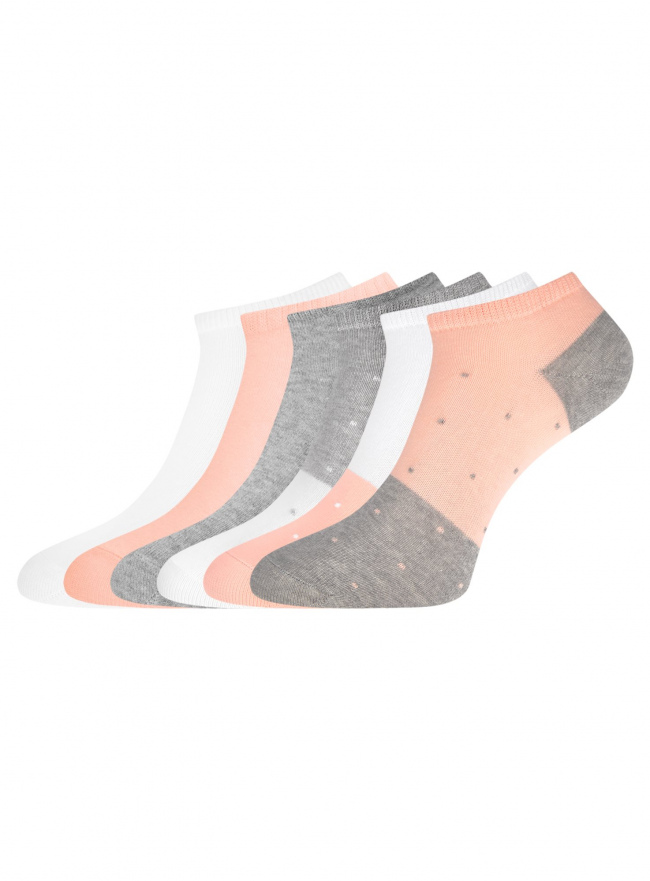 Комплект укороченных носков (6 пар) oodji для женщины (разноцветный), 57102433T6/47469/76