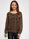 Блузка принтованная свободного силуэта oodji для женщины (коричневый), 21400393/35202/3729A - вид 2