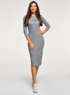Платье приталенное с надписью oodji #SECTION_NAME# (серый), 14011059/48037/2329Z - вид 2