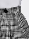 Юбка миди клетчатая из плотной ткани с карманами oodji для женщины (черный), 11600433/45768/2912C
