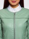 Куртка из искусственной кожи с металлическими стразами oodji #SECTION_NAME# (зеленый), 18A04010/46542/6C00N - вид 4
