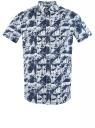 Рубашка принтованная с коротким рукавом oodji #SECTION_NAME# (синий), 3L410144M/48244N/1079G