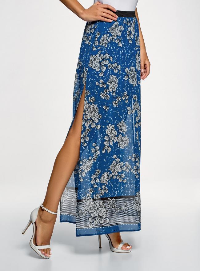 Юбка макси из струящейся ткани oodji для женщины (синий), 13G00002-3B/42816/7540F