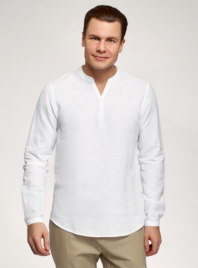 Рубашка прямого силуэта изо льна oodji для мужчины (белый), 3B320002M-1/49987N/1000N