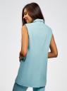 Жилет льняной прямого силуэта oodji для женщины (синий), 22305005B/16009/7000N