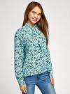 Блузка вискозная с декоративными завязками oodji #SECTION_NAME# (зеленый), 11411118/24681/6579F - вид 2