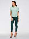 Блузка вискозная с короткими рукавами oodji #SECTION_NAME# (зеленый), 11411137B/14897/6501N - вид 6