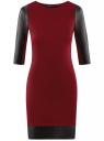 Платье с отделкой из искусственной кожи oodji для женщины (красный), 14001143-4B/46944/4901B