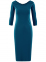 Платье облегающее с вырезом-лодочкой oodji #SECTION_NAME# (зеленый), 14017001/42376/6C01N