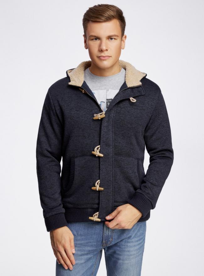 Куртка трикотажная утепленная с отделкой из искусственного меха oodji #SECTION_NAME# (синий), 5L911027M/44353N/7900M