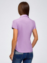Рубашка хлопковая с коротким рукавом oodji #SECTION_NAME# (фиолетовый), 13K01004-1B/14885/8001N - вид 3