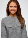 Блузка вискозная с нагрудными карманами oodji #SECTION_NAME# (серый), 11403225-7B/42540/2930G - вид 4