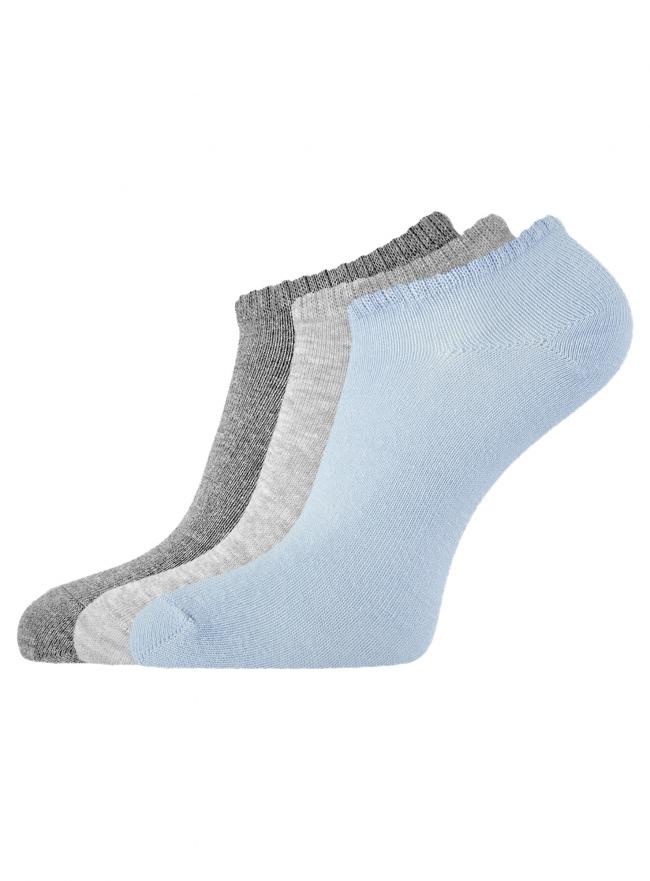 Комплект из трех пар укороченных носков oodji для женщины (разноцветный), 57102433T3/47469/19IUM